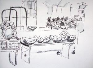 wann gibt es endlich wieder melonen zu kaufen zeichnen mit martina wald. Black Bedroom Furniture Sets. Home Design Ideas
