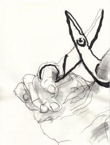 rechte Hand mit Schere