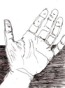 linke Hand abgelegt