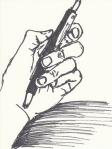Hand mit Kuli