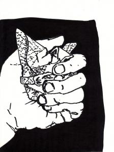 Hand mit Taschenbuch