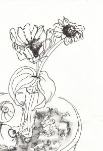 Blumendeko im Café